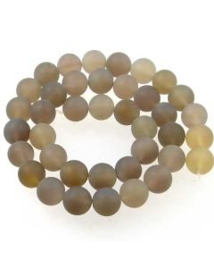 Grey Agate 10mm FROSTED Round Beads