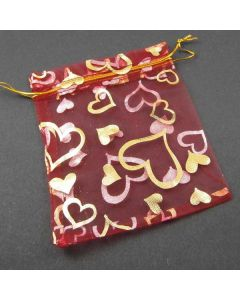 Organza Bags - Dark Red with Gold Heart Pattern 10x12cm approx.(Pack of Ten)