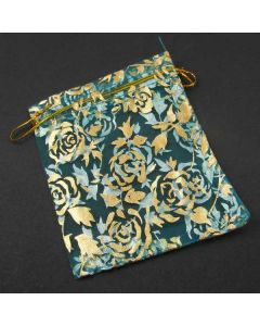 Organza Bags - Turquoise with Gold Flower Pattern 10x12cm (approx) (Pack of Ten)