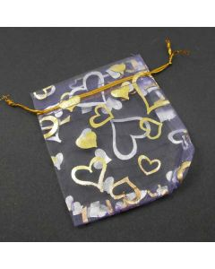 Organza Bags - Mauve with Gold Heart Pattern 10x12cm approx. (Pack of Ten)