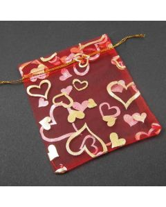Organza Bags - Red with Gold Heart Pattern 10x12cm (approx) (Pack of Ten)