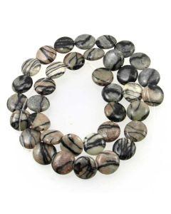 Black Veined Jasper 11mm Coin Beads
