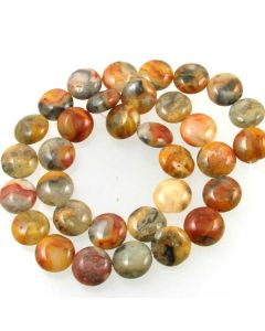 Crazy Lace Agate 12mm Coin Beads
