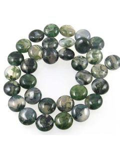 Moss Agate 12mm Coin Beads