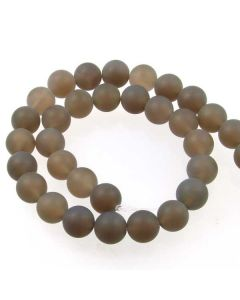 Grey Agate 12mm FROSTED Round Beads