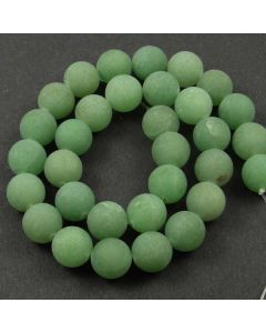 Green Aventurine 12mm FROSTED Round Beads