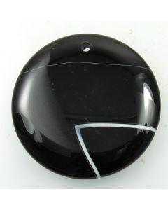 Banded Black Agate Pendant Bead