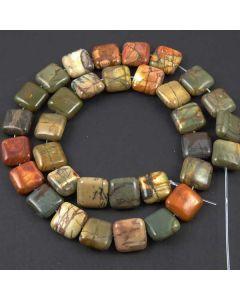 Red Creek Jasper 12mm Square Beads