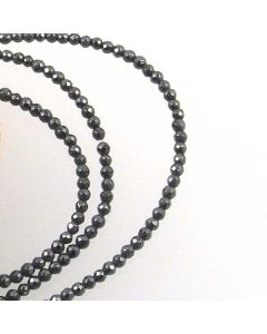 Hematite FACETED 2mm Round Beads