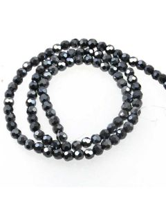 Black/Grey Faceted Glass Beads 4mm Round