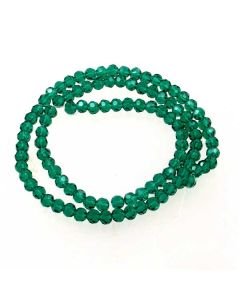 Emerald Green Faceted Glass Beads 4mm Round