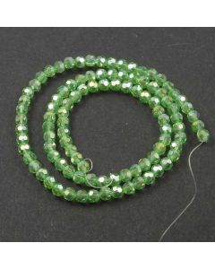 Green AB  Faceted Glass Beads 4mm Round