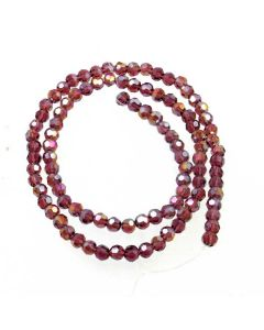 Plum AB  Faceted Glass Beads 4mm Round