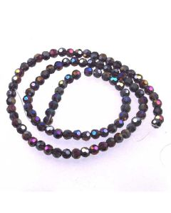 Purple AB  Faceted Glass Beads 4mm Round