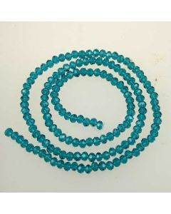 Cyan Faceted Glass Beads 3x4mm RONDELLE (approx 150 beads)