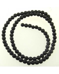 Lava Stone (Black) 4mm (Approx) Round Beads 2