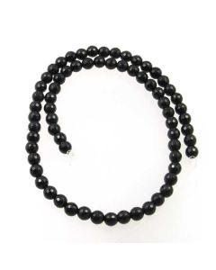 Black Onyx 6mm Faceted Round Beads