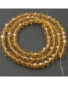Golden Champagne Faceted Glass Beads 6mm Round