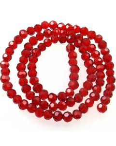 Deep Red Faceted Glass Beads 6mm Round