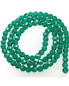 Emerald Green Faceted Glass Beads 6mm Round