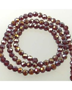 Plum AB  Faceted Glass Beads 6mm Round