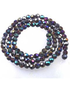 Purple AB  Faceted Glass Beads 6mm Round