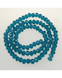 Cyan Faceted Glass Beads 4x6mm RONDELLE