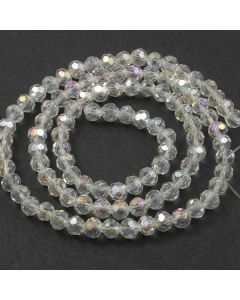 White AB  Faceted Glass Beads 6mm Round