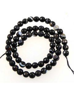 Black sardonyx 6mm faceted beads