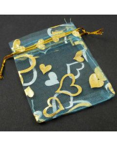 Organza Bags - Small Turquoise with Gold Heart (Pack of Ten)