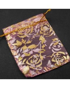 Organza Bags - Small Pink with Large Gold Flower (Pack of Ten)