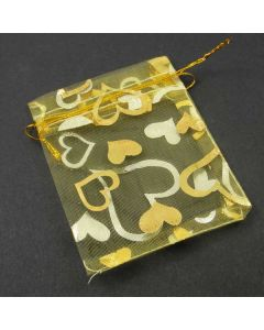 Organza Bags - Small Yellow with Gold Heart (Pack of Ten)
