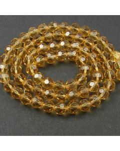 Golden Champagne Faceted Glass Beads 8mm Round