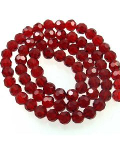 Deep Red Faceted Glass Beads 8mm Round