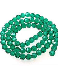 Emerald Green Faceted Glass Beads 8mm Round