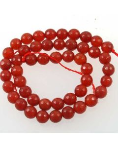 Carnelian 8mm Faceted Round Beads