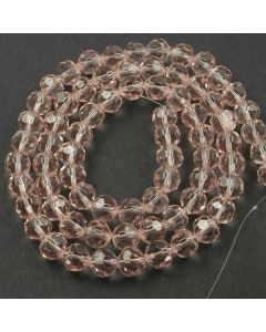 Pink Faceted Glass Beads 8mm Round