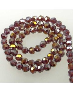 Plum AB  Faceted Glass Beads 8mm Round
