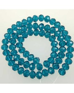 Cyan Faceted Glass Beads 6x8mm RONDELLE