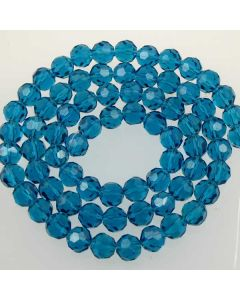 Apatite Blue  Faceted Glass Beads 8mm ROUND (approx 72 beads)