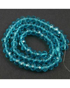 Turquoise Blue Faceted Glass Beads 6x8mm RONDELLE (approx 72 beads)