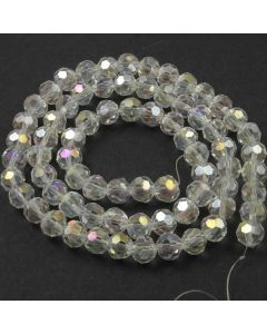 White AB  Faceted Glass Beads 8mm Round