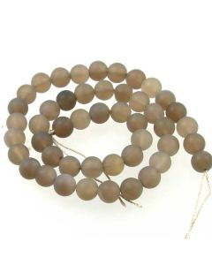 Grey Agate 8mm FROSTED Round Beads