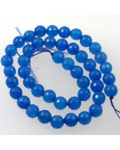 Jade (Apatite Blue) Dyed 8mm Faceted Round Beads