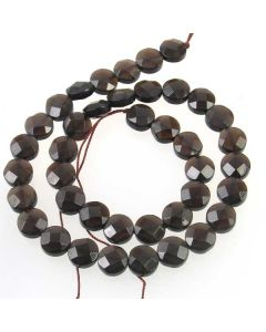 Smoky Quartz 10mm Faceted Coin Beads