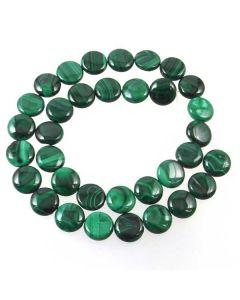 Malachite 12mm Coin Beads - B Grade