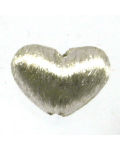 Bali Bead Brushed Silver 7x4.3x10mm Heart