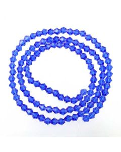Sapphire Blue Faceted Glass Beads 4mm BICONE