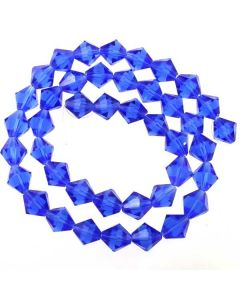 Sapphire Blue Faceted Glass Beads 8mm BICONE