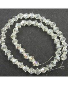White AB  Faceted Glass Beads 6mm BICONE